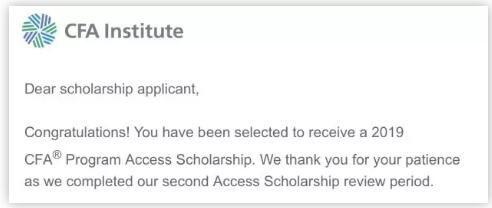 终于在1月18号早上收到了协会发来的邮件通知说我通过了二轮的筛选,拿到了access scholarship